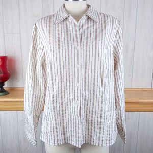 Gold Gray White Black Striped Button Up Top Shirt